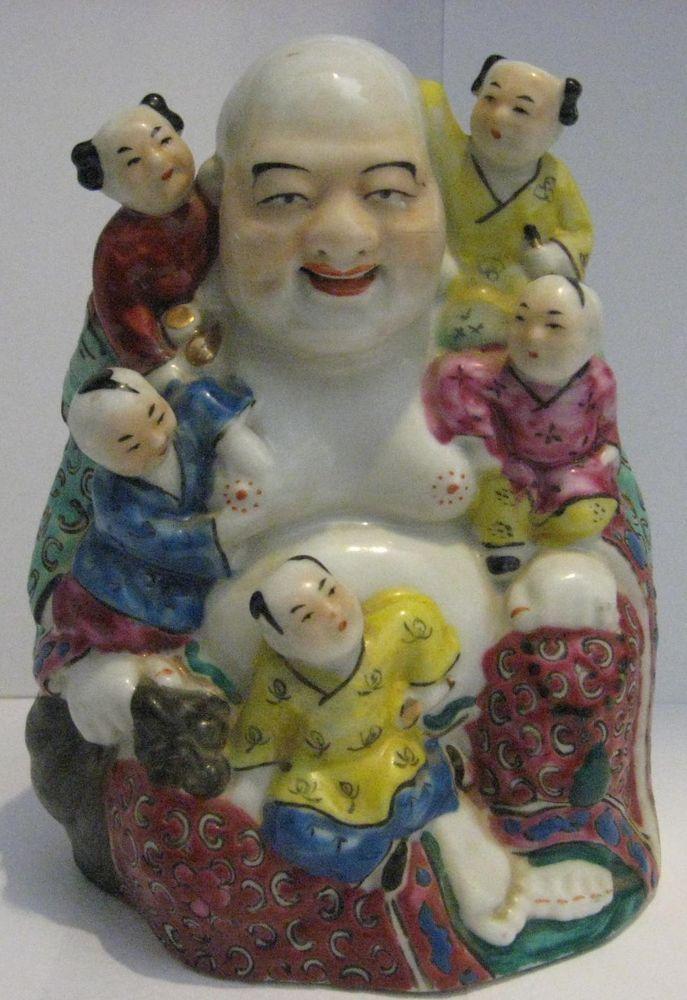 "6/"" Porcelain Buddha with 5 children"
