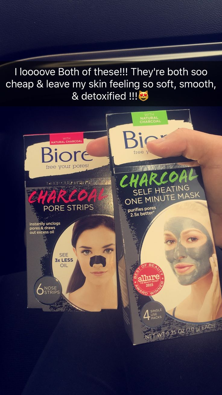 Biore Charcoal Pore Strips & Biore Charcoal Self Heating One Minute Mask