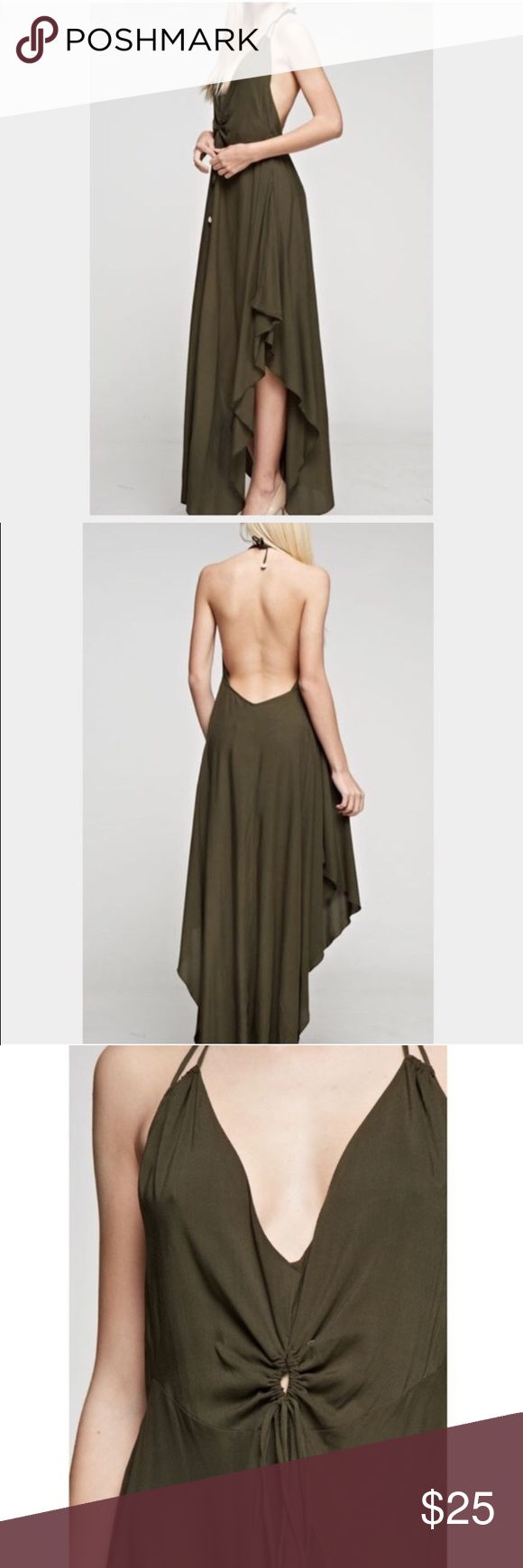 New Women's Olive Green Maxi Long Dress New Women's Gorgeous Olive Green Maxi Dress   Olive Green; One-piece dress Ruffled Open Sides  Halter Top  Exposed Back Ties in the neck and on the waist   ✔️Ships 1-3 days (except weekends)  ✔️Discount with bundles  ✔️I do no cancel any orders once purchased  ✔️Any questions, feel free to ask :) Dresses Maxi