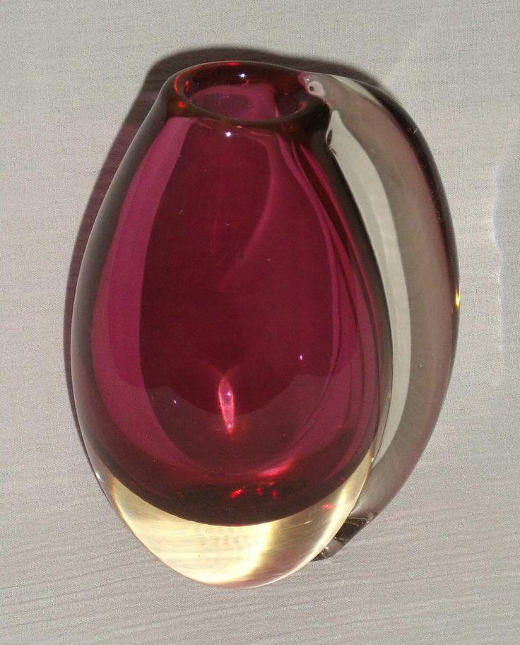 """Helander Humppila Art Glass Vase Cranberry Pink Signed 6.5"""" Finland 1960s"""
