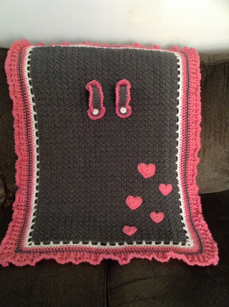 Crochet Car Seat Cover. Pink hearts By Janene