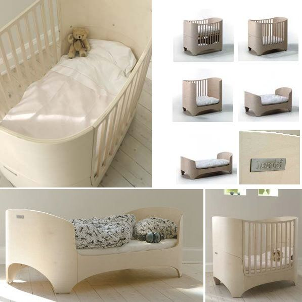 The customizable Leander cot in various stages. Leander have designed it to be interchangeable as your child grows; going from cot to junior bed as required!