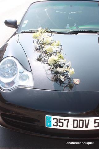 Fleurs voiture mariage prix - Decoration voiture mariage noir et blanc ...