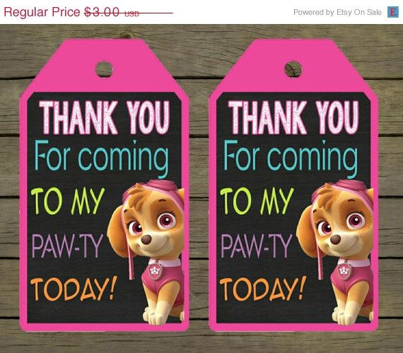 50% OFF Skye Paw Patrol Digital thankyou - thank you card - tag Birthday Party Digital File; You Print - DIY - printable instant download by PYOpartyinvites on Etsy https://www.etsy.com/listing/195237771/50-off-skye-paw-patrol-digital-thankyou