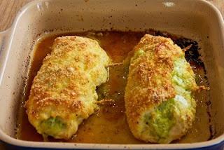 Pesto and mozzarella stuffed chicken breasts.