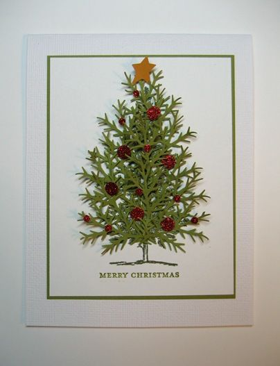 Used Lovely As a Tree for the base, then glued a dozen pine punches to give dimension. Card by Linda Fisher on her Stampin Loft web site.