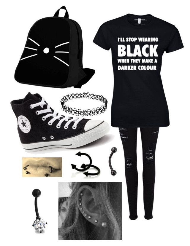 """I thought I was gonna have heat stroke today..."" by emo-kyleigh ❤ liked on Polyvore featuring Frame Denim, Converse and Bling Jewelry"