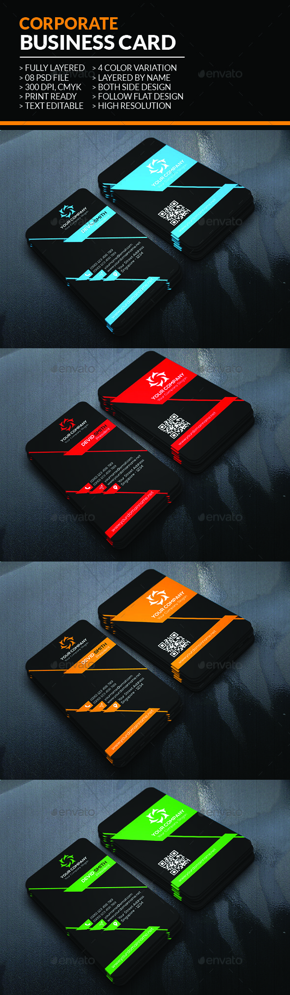 Corporate #Business #Card - Corporate Business Cards Download here: https://graphicriver.net/item/corporate-business-card/19608966?ref=alena994