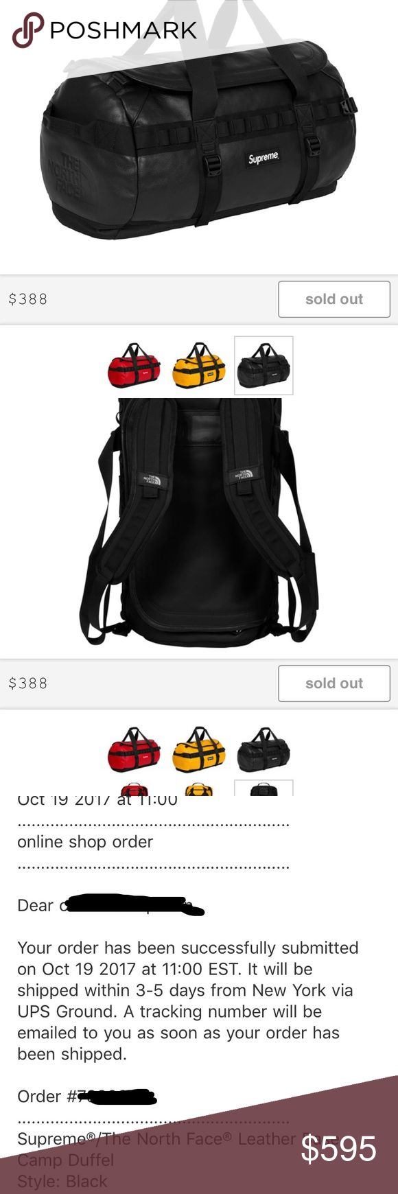 Supreme x The north face leather duffel bag black Supreme x The north face leather duffel bag fw17 in black ordered from supreme online store. confirmed shipment from supreme. It will take about a week to get to me once I receive the item I will ship it out immediately. Will come with supreme box logo sticker. supreme Bags Duffel Bags