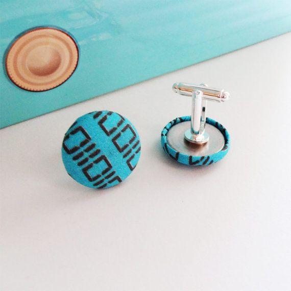 Binary Turquoise Cufflinks geeky code design hand by CheekyGeeky, £12.00