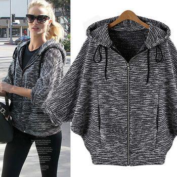 Moda manga del palo chaqueta de la rebeca encapuchada mujeres reparación ralentí chaqueta más tamaño chaqueta deportiva moda chaquetas envío gratis
