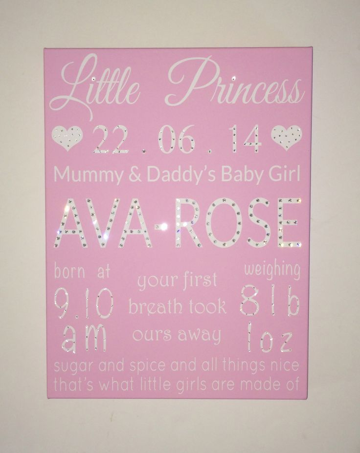 Pretty pink canvas made for a little girls 1st birthday. Complete with Swarovski Crystals. Also great as a Christening present