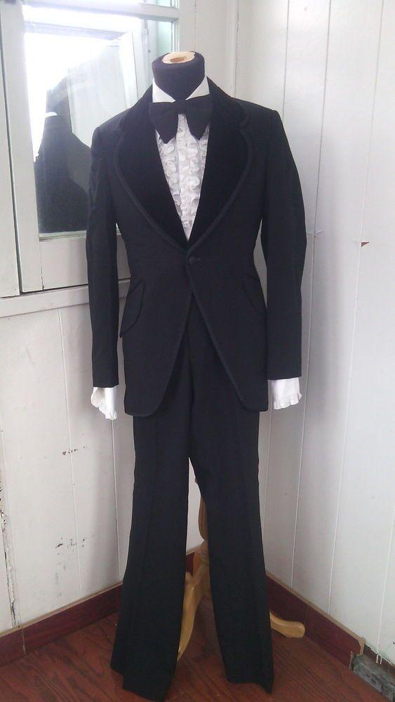 Vintage Black Tuxedo Suit Jacket Pants Shirt Bowtie