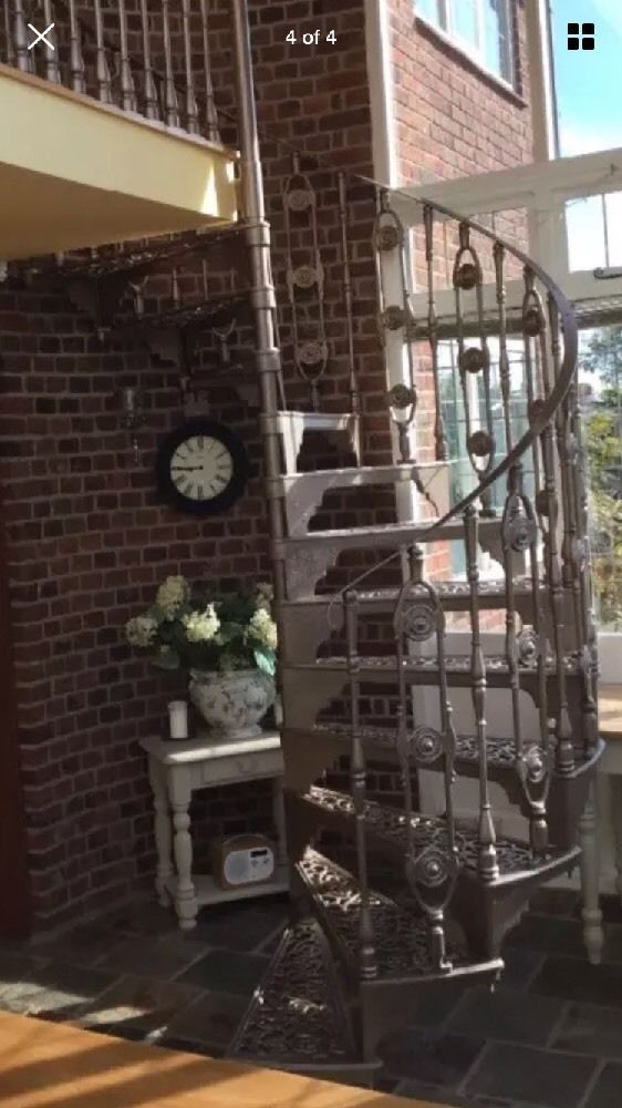 Beautiful cast iron Spiral Staircase for sale. Pale bronze in colour, can be re-painted. 12 treads @ 200mm Rise. Flat metal handrail. Victorian design. | eBay!