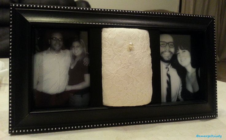 engagement wedding ring holder black picture frame pearl pin cushion white lace gift