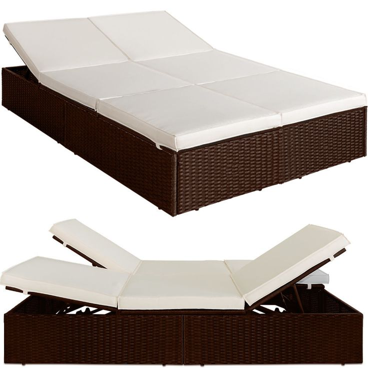 Double Sun Lounger Rattan Brown - 7 cm Thick Cushion Cream 193 x 116 x 38 cm. The sun lounger isfourfold height-adjustable at the head and foot parts viastable double brackets. - usable as sun lounger or sofa bed. | eBay!