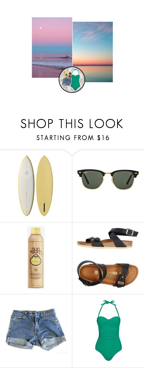 """Tenue #1099"" by amandine-bk ❤ liked on Polyvore featuring Ray-Ban, Sun Bum, Birkenstock, Levi's, Heidi Klein, surf and sea"