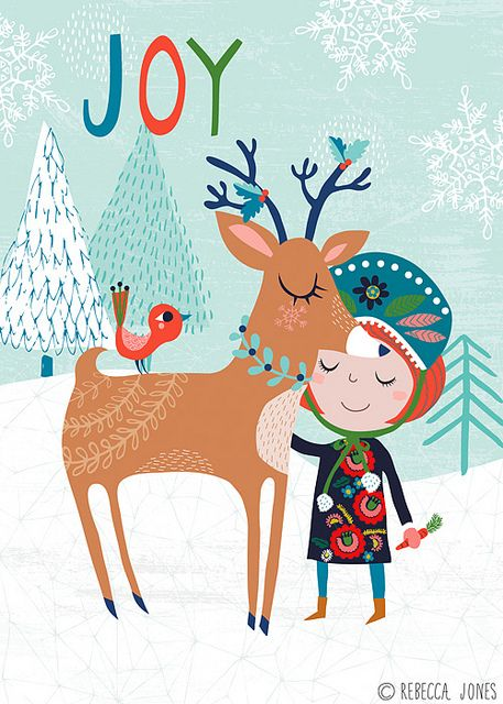 JOY - Christmas reindeer (deer-io), birdie & little girl in a snowy forest - illustration by Rebecca Lefeuvre