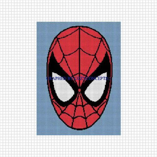 Free Spiderman Knitting Patterns : Graph spiderman face crochet afghan pattern graph emailed pdf The ojay...