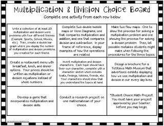FREE Multiplication and Division Choice Board.