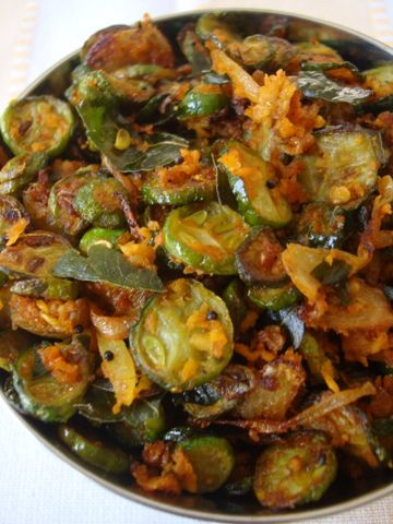 Dondakaya Kobbari Vepudu ~ Tindora Coconut Stir Fry: Tender, bright green Indian gherkins are turned into a deeply roasted delicious stir fry.