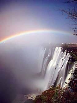 Lunar rainbow at Victoria Falls. Best seen during good rains and with a full moon. Our best times were at about 9pm in the evening.