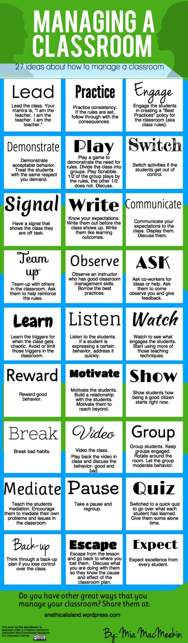 27 Tips For Effective Classroom Management - a great info graphic as a quick reference on how to be an effective teacher with classroom management: