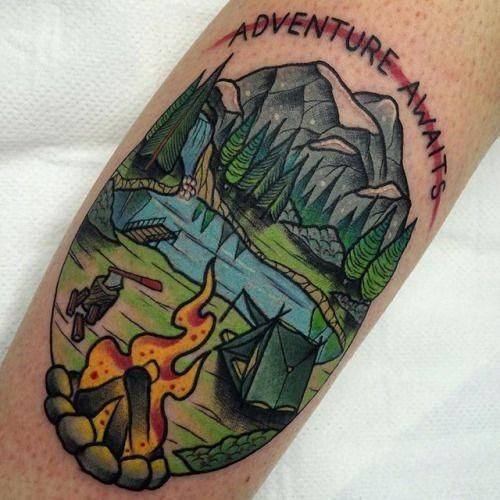 40 Traditional Mountain Tattoo Designs for Men – Old School Ink Ideas