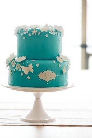 turquoise wedding cake-