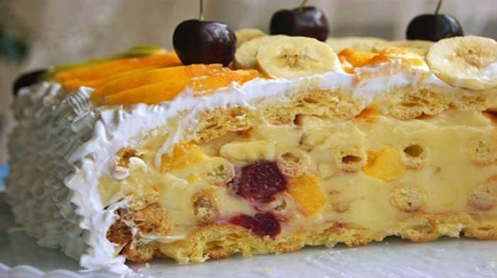 """Невероятно легкий и воздушный летний торт """"Лакомка"""" - для тех, кто не любит приторно-сладкие очень калорийные торты с большим количеством сахара и шоколада."""