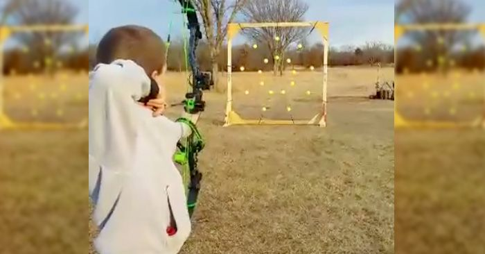 Here's a fun way to do some archery target practice with the kids!