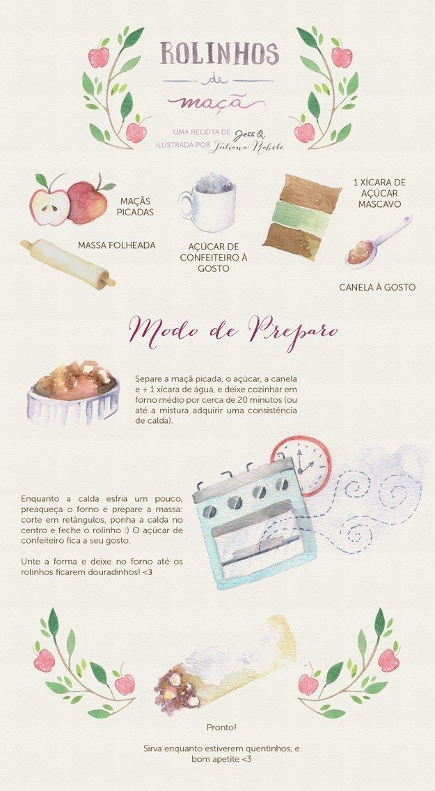 Rolinhos de maçã. | 13 receitas ilustradas que vão te inspirar a ir para a cozinha