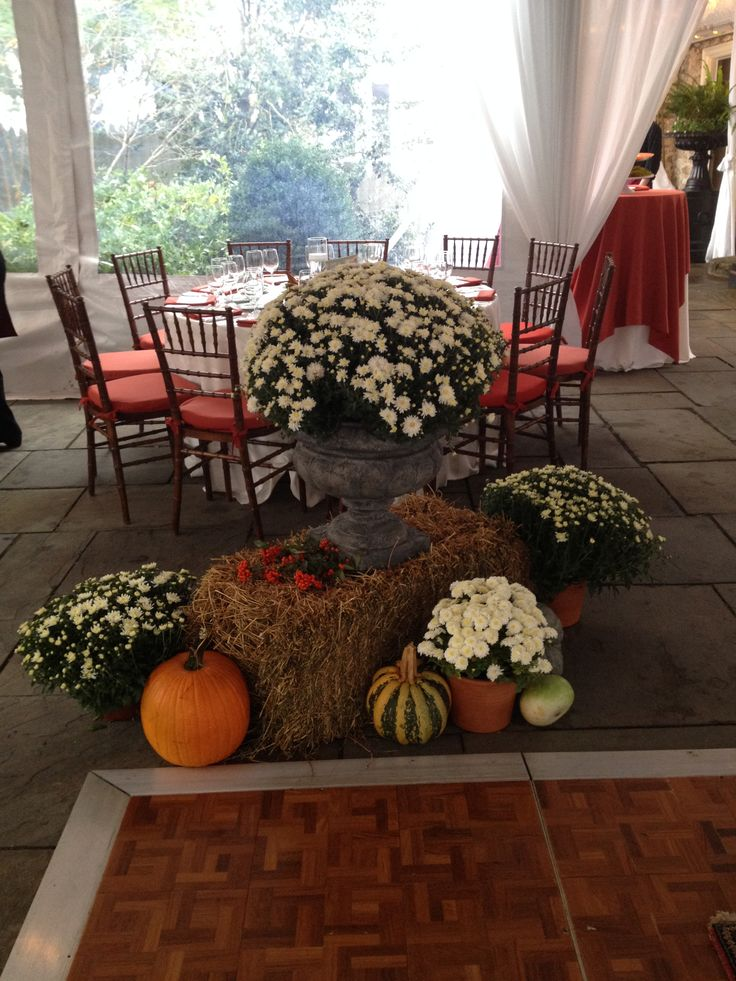 fall decor under the tent