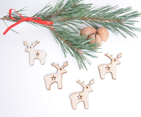 set of 50 wooden reindeer shapes, Christmas tree decor, gift packaging winter season holiday shape table tag set unfinished laser cut cutout