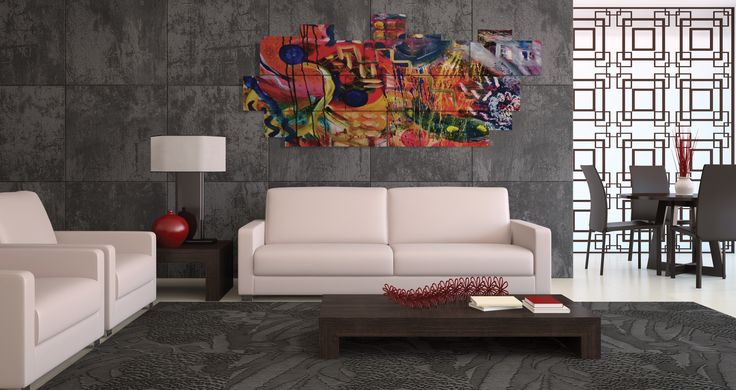 Extra large wall art - multipanel 3D - 250x110 cm - 15 pieces. Printed in photo quality on laminated paper. MADE IN ITALY. #quadri3D #astratto #design #abstract #multipanel #wallart #quadri