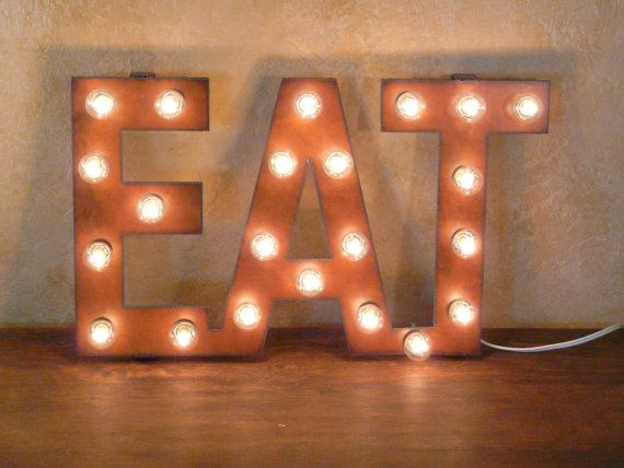 Rusted Recycled Metal Vintage Inspired EAT Sign Lighted