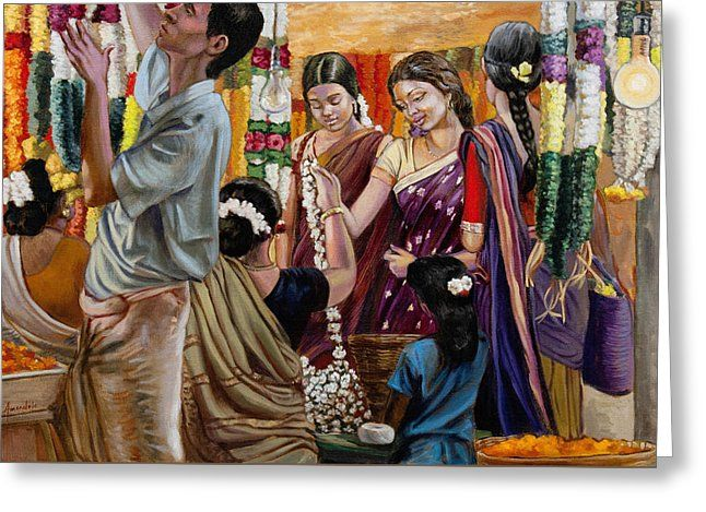 Ladies At The Flower Market In India Greeting Card by Dominique Amendola
