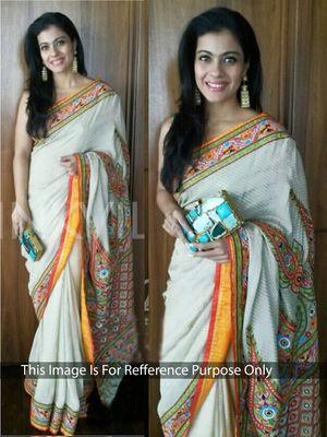 Thankar Off White Multy Work Jequard Georgette Bollywood Designer Saree Bollywood Sarees