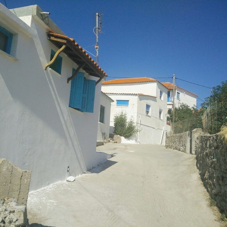Greek houses in Sigri in their traditional Greek colours: white and blue (Lesvos, Greece)