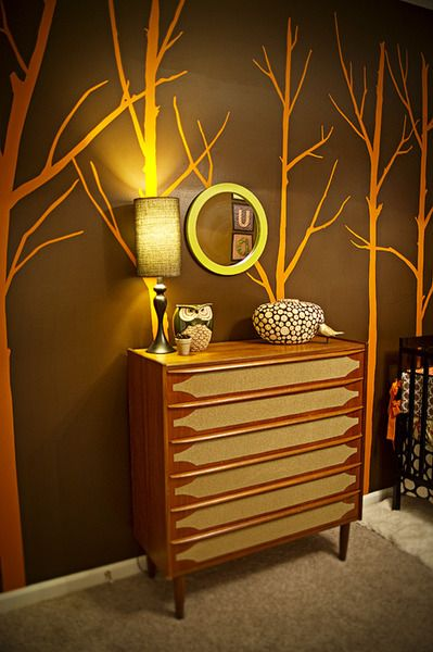 These tree wall decals are the perfect fit for an orange nursery.