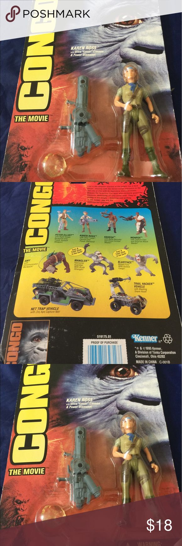 KAREN ROSS WI/ ULTRA LASER CANNON & POWER DIAMOND CONGO The movie figures with toy!CONGA KAREN ROSS WITH ULTRA  LASER CANNON & POWER DIAMOND WARNING CHOKING HAZARD .Small parts not for children under  3 years. Kenner Other