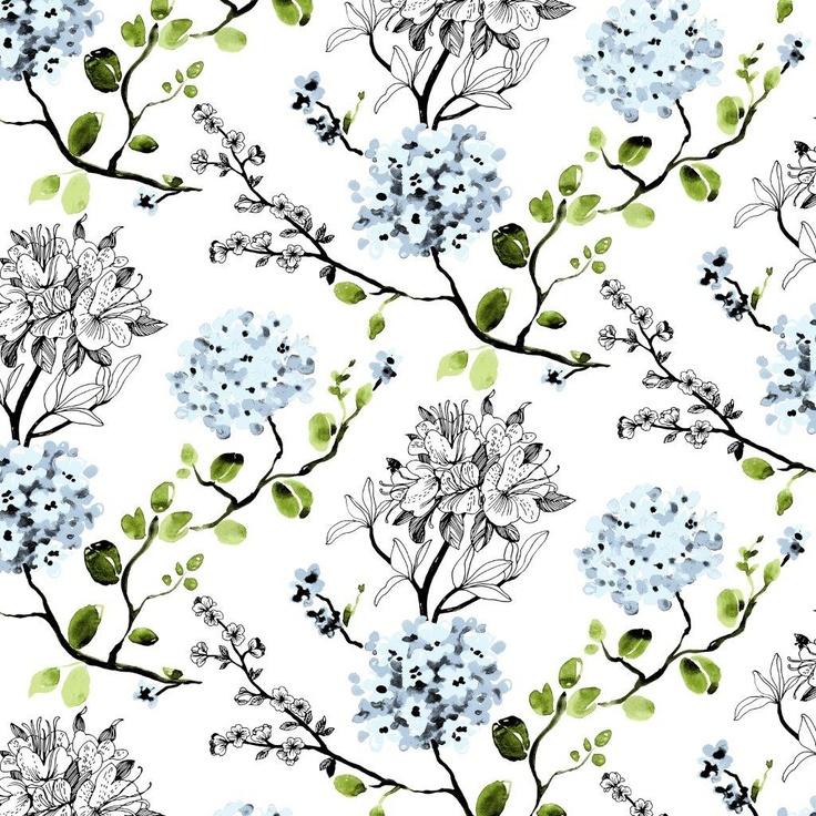 Melissa wallpaper, blue. Design Tanja Orsjoki