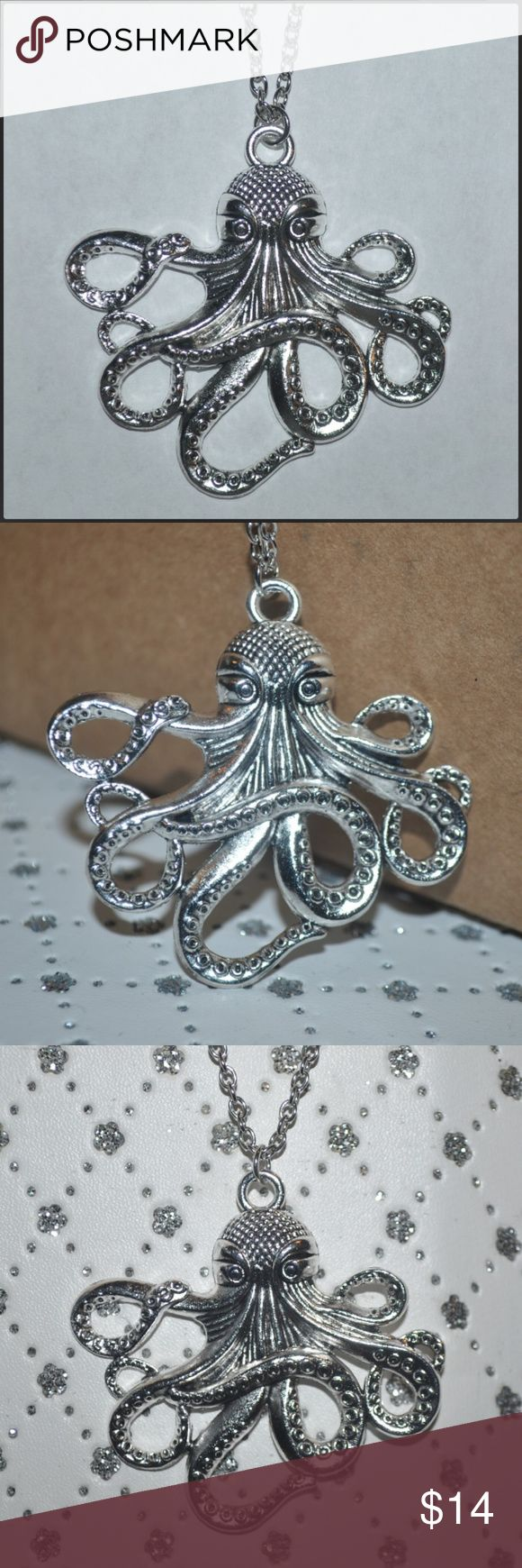 Silver Octopus Necklace BNWOT // tags: ocean sea tentacles tentacle creatures creature animals animal necklaces jewelry cool rad neat vintage grey gray color shine badass awesome amazing incredible new nwot wicked witchy pirates pirate witch nautical tattoo shop bundle lot multiple accessories accessory pretty beautiful beauty gorgeous statement piece pendants pendant statements unique unisex women womens girls girl chain adorable cute alternative rebel Jewelry Necklaces