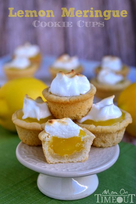 Sugar cookie cups pair perfectly with the refreshingly tart lemon curd filling in these Lemon Meringue Cookie Cups! MomOnTimeout.com