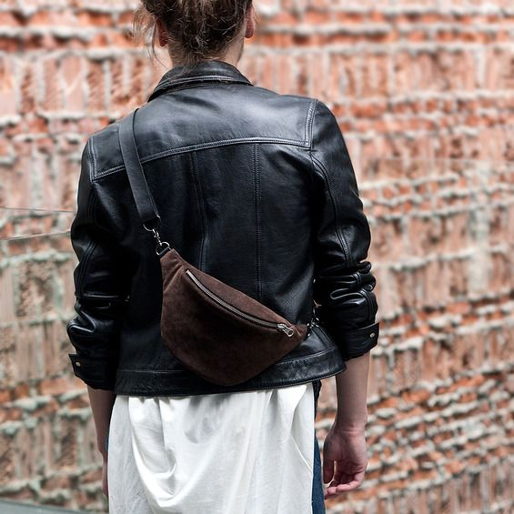 Suede Brown  Anacomito Belt Bag  Fanny Pack, Bumbag, Waist Bag