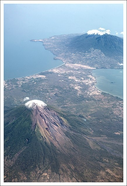 Aerial view of volcanoes Concepcion and Maderas on Ometepe Island Lake Nicaragua.