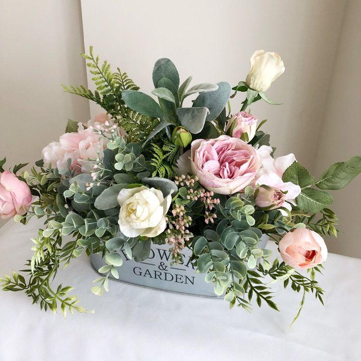 Blumengesteck im Bauernhausstil   Frühlingsblumengesteck   Blush Floral Centerpiece   Französisch C  – Цветы. Вдохновение