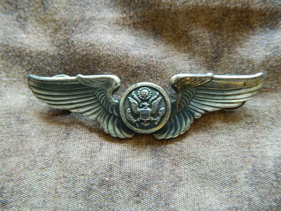 vintage 3 sterling silver army air force wing pin badge pilot uniform insignia usaf. Black Bedroom Furniture Sets. Home Design Ideas