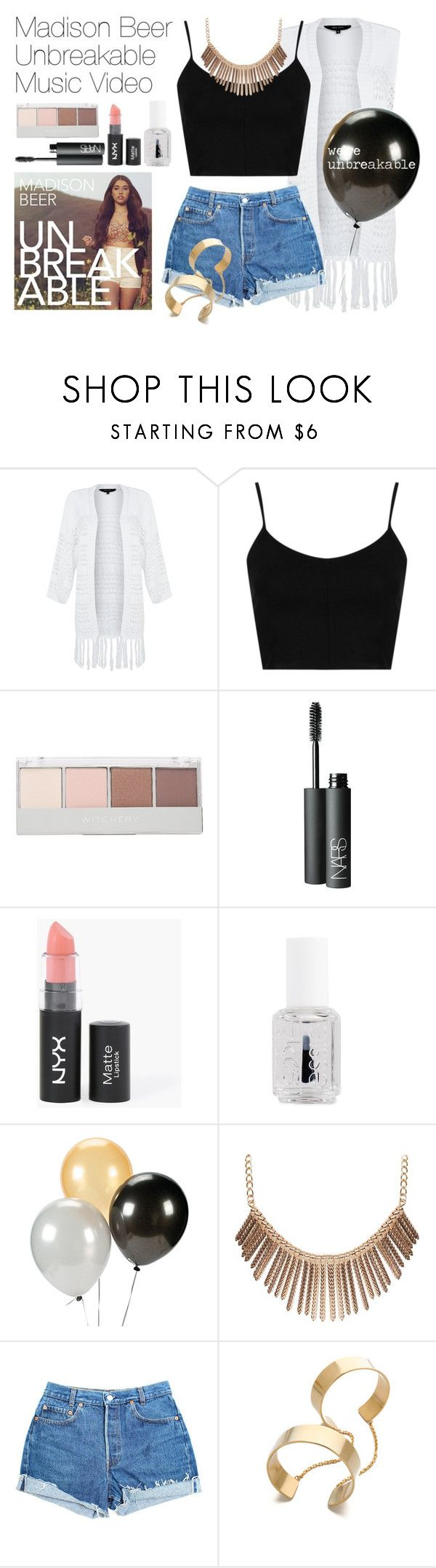 """Madison Beer Unbreakable Music Video"" by asabfbg ❤ liked on Polyvore featuring Topshop, Witchery, NARS Cosmetics, Essie, Humble Chic, Levi's, Vanessa Mooney, women's clothing, women's fashion and women"