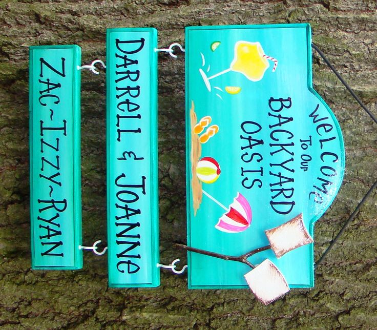Welcome to our Backyard Oasis or Patio or Camp Sign  with your name!  Beach Pool Drink Summer Style  Custom Personalized 2 Name Plates by CreativeDesigns77 on Etsy